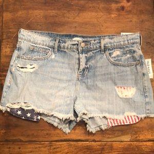 Patriotic Distressed Jean Shorts